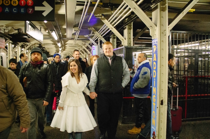 "One of my favorite moments of the day was Nick & Brandi's impromptu ""first dance"" in the middle of the Subway because there was the coolest street performer playing bucket drums. WHAT A MEMORY!"
